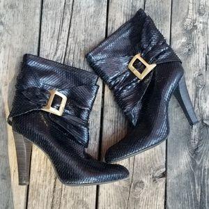 BCBGMaxAzaria Snakeskin Cuffed Boots (Size 8.5B)
